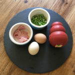Ingredients - Scrambled egg, ham slices, peas.